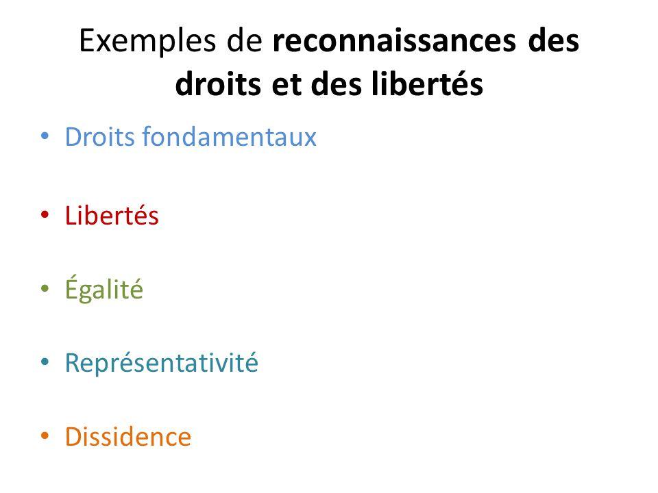 Exemples de reconnaissances des droits et des libertés Droits fondamentaux Libertés Égalité Représentativité Dissidence