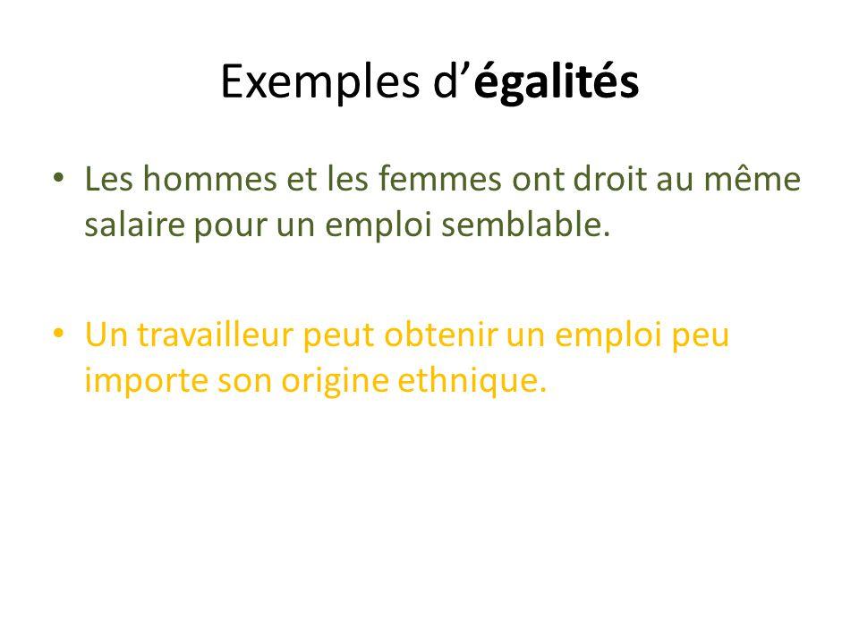 Exemples dégalités Les hommes et les femmes ont droit au même salaire pour un emploi semblable.