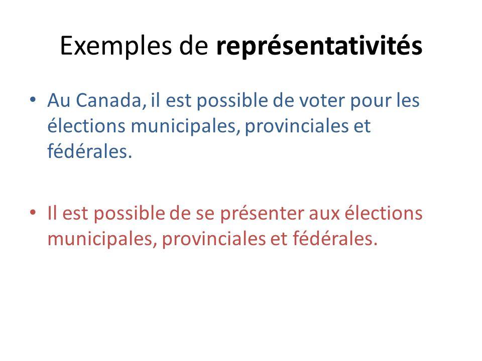 Exemples de représentativités Au Canada, il est possible de voter pour les élections municipales, provinciales et fédérales.