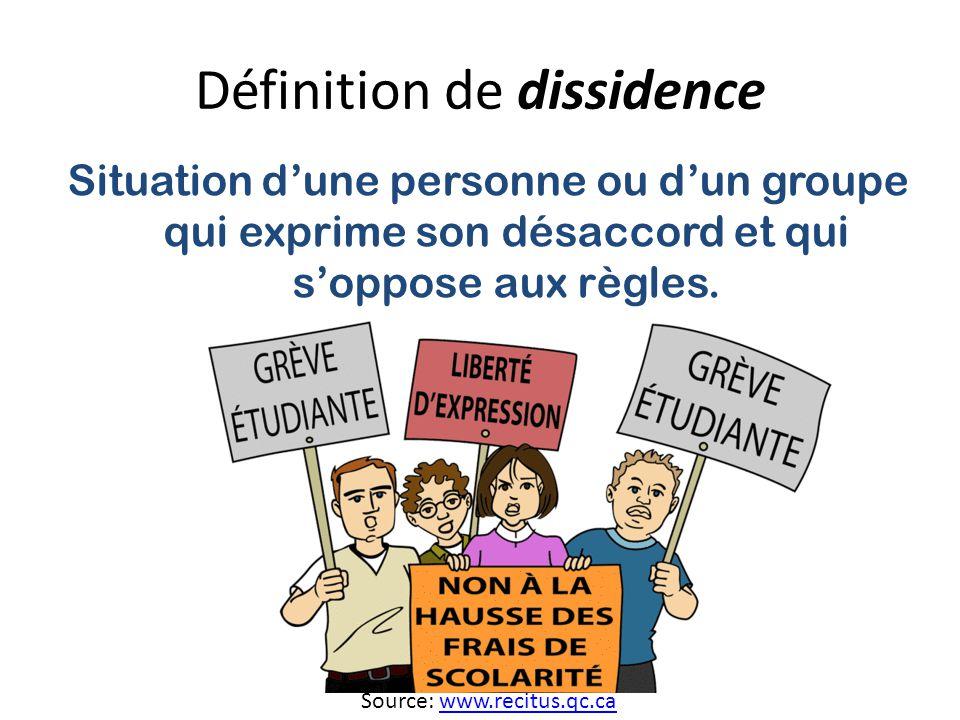 Définition de dissidence Situation dune personne ou dun groupe qui exprime son désaccord et qui soppose aux règles.