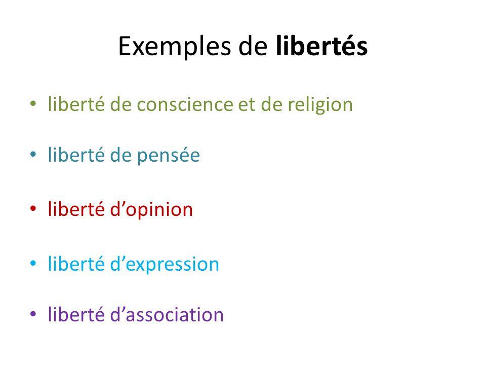 Exemples de libertés liberté de conscience et de religion liberté de pensée liberté dopinion liberté dexpression liberté dassociation