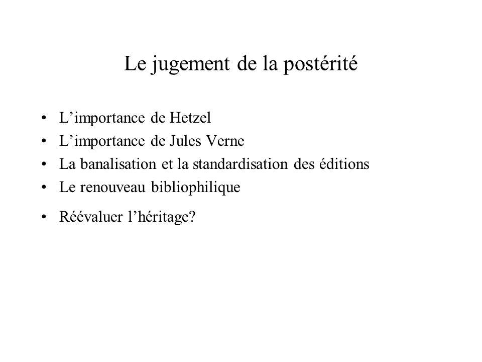 Le jugement de la postérité Limportance de Hetzel Limportance de Jules Verne La banalisation et la standardisation des éditions Le renouveau bibliophilique Réévaluer lhéritage?