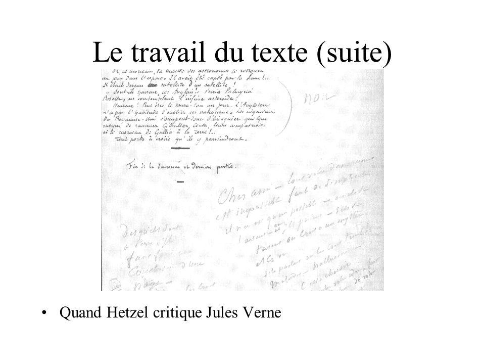 Le travail du texte (suite) Quand Hetzel critique Jules Verne