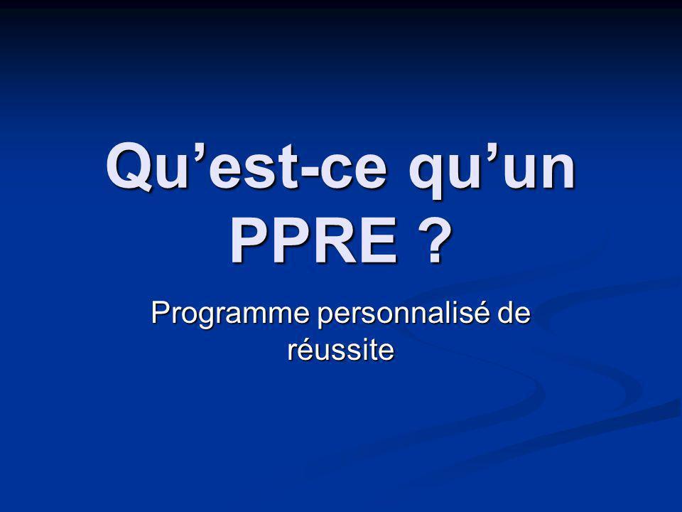 Quest-ce quun PPRE Programme personnalisé de réussite