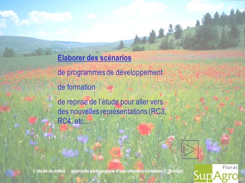 Létude de milieu : approche pédagogique dune situation complexe (C Benois) Elaborer des scénarios de programmes de développement de formation de repri
