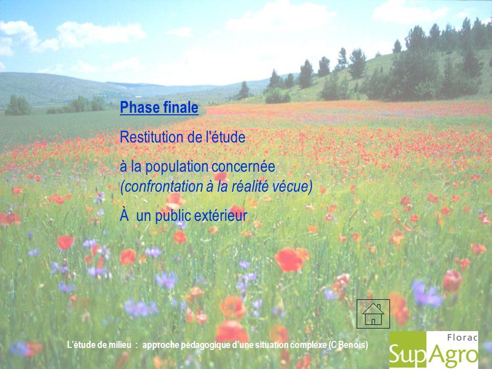 Létude de milieu : approche pédagogique dune situation complexe (C Benois) Phase finale Restitution de l'étude à la population concernée (confrontatio