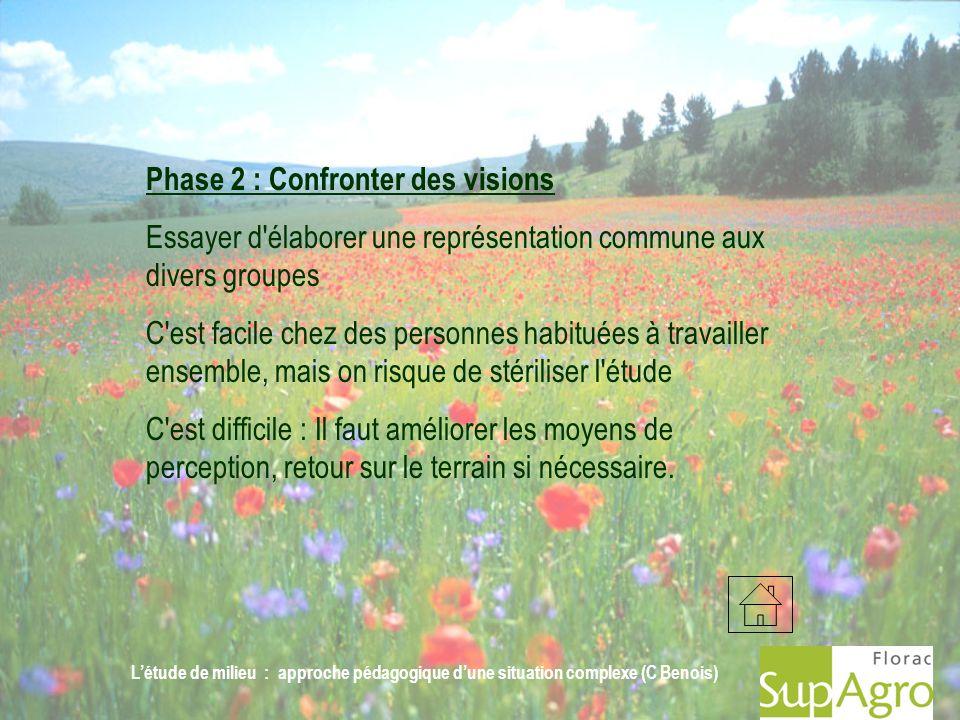 Létude de milieu : approche pédagogique dune situation complexe (C Benois) Phase 2 : Confronter des visions Essayer d'élaborer une représentation comm