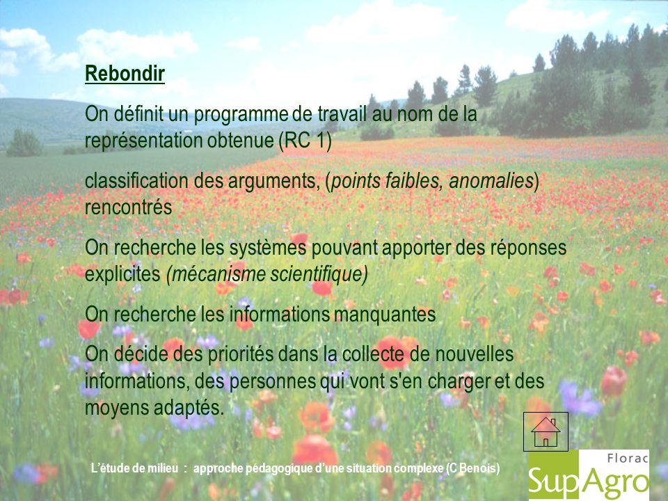 Létude de milieu : approche pédagogique dune situation complexe (C Benois) Rebondir On définit un programme de travail au nom de la représentation obt