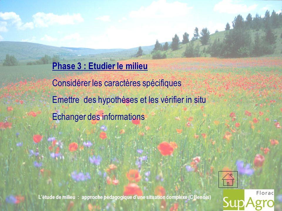 Létude de milieu : approche pédagogique dune situation complexe (C Benois) Phase 3 : Etudier le milieu Considérer les caractères spécifiques Emettre d