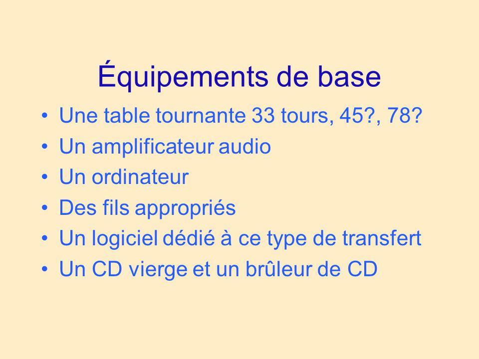 Équipements de base Une table tournante 33 tours, 45?, 78? Un amplificateur audio Un ordinateur Des fils appropriés Un logiciel dédié à ce type de tra