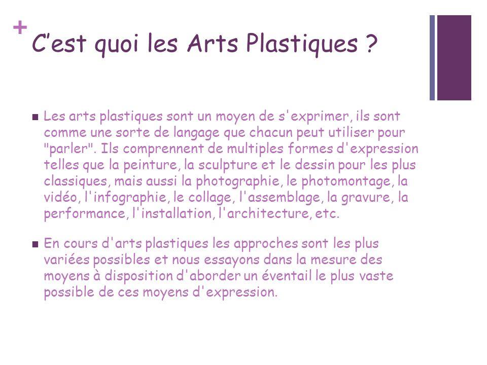 + Cest quoi les Arts Plastiques ? Les arts plastiques sont un moyen de s'exprimer, ils sont comme une sorte de langage que chacun peut utiliser pour