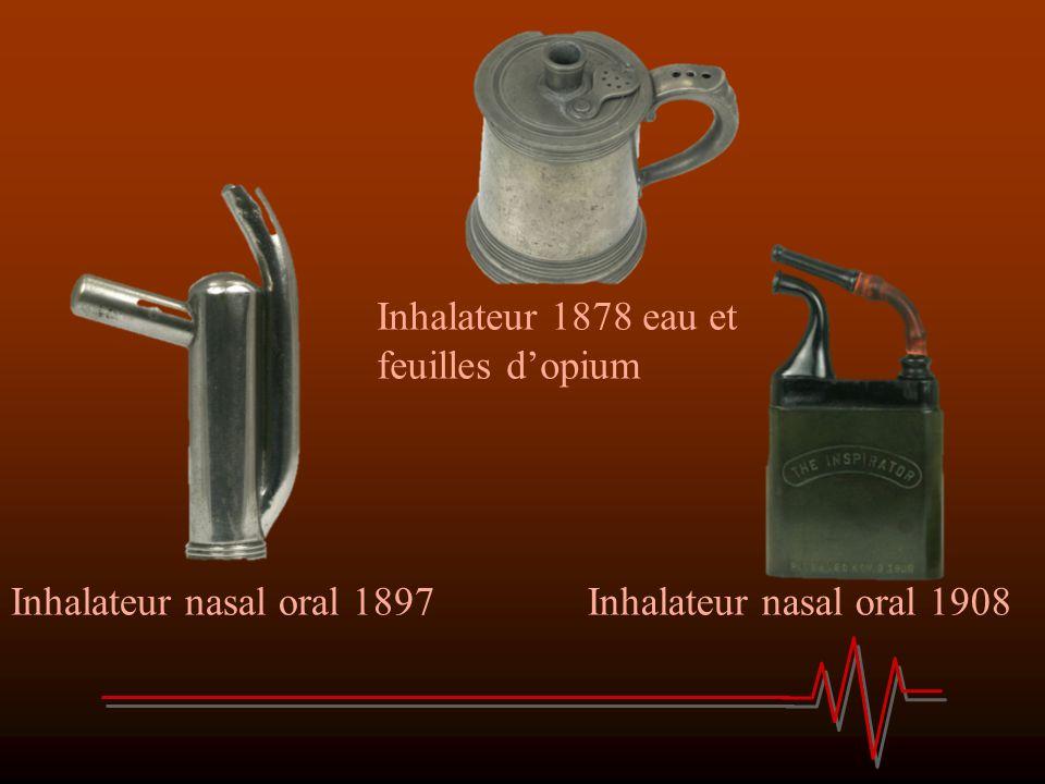 Inhalateur nasal oral 1897Inhalateur nasal oral 1908 Inhalateur 1878 eau et feuilles dopium