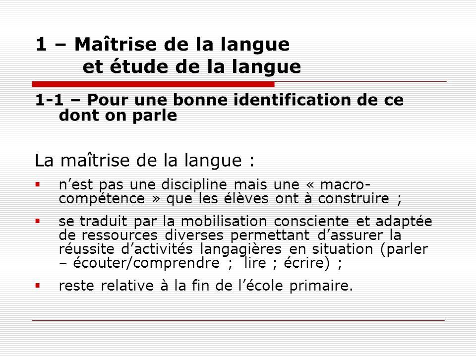 1 – Maîtrise de la langue et étude de la langue 1-1 – Pour une bonne identification de ce dont on parle La maîtrise de la langue : nest pas une discip