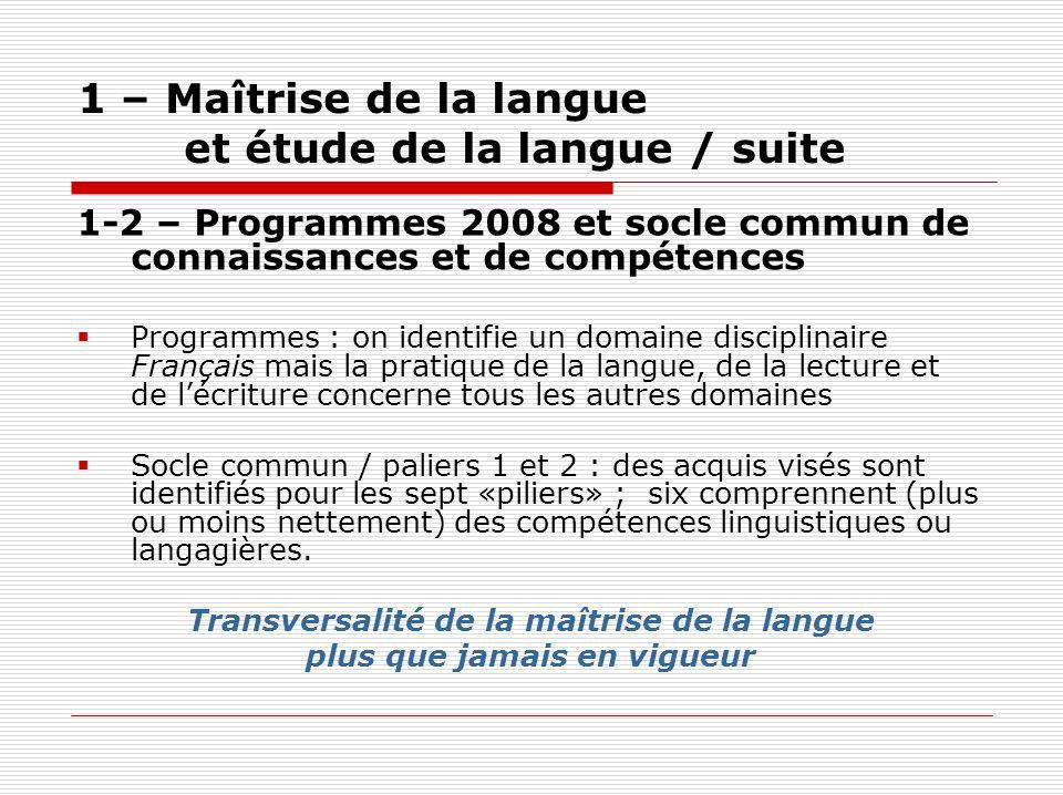 1 – Maîtrise de la langue et étude de la langue / suite 1-2 – Programmes 2008 et socle commun de connaissances et de compétences Programmes : on ident