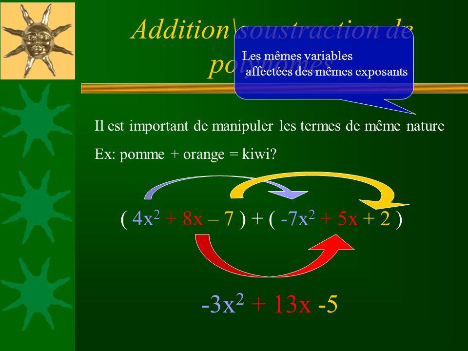 Addition\soustraction de polynômes Il est important de manipuler les termes de même nature Ex: pomme + orange = kiwi.