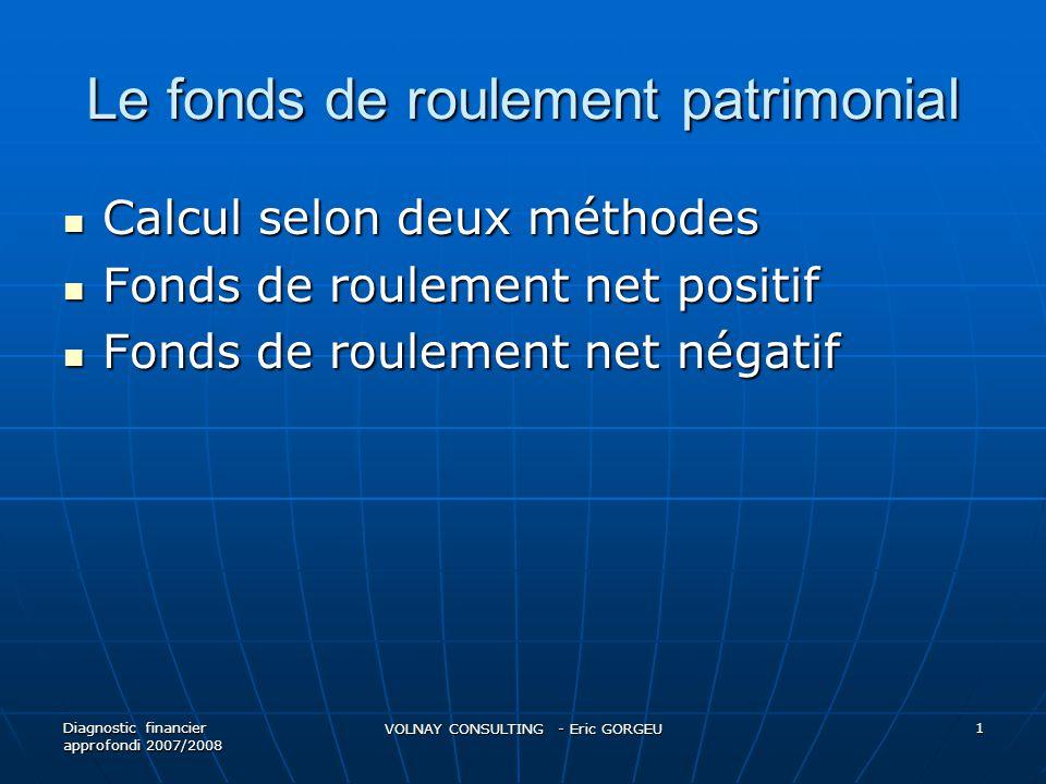 Le fonds de roulement patrimonial Calcul selon deux méthodes Calcul selon deux méthodes Fonds de roulement net positif Fonds de roulement net positif