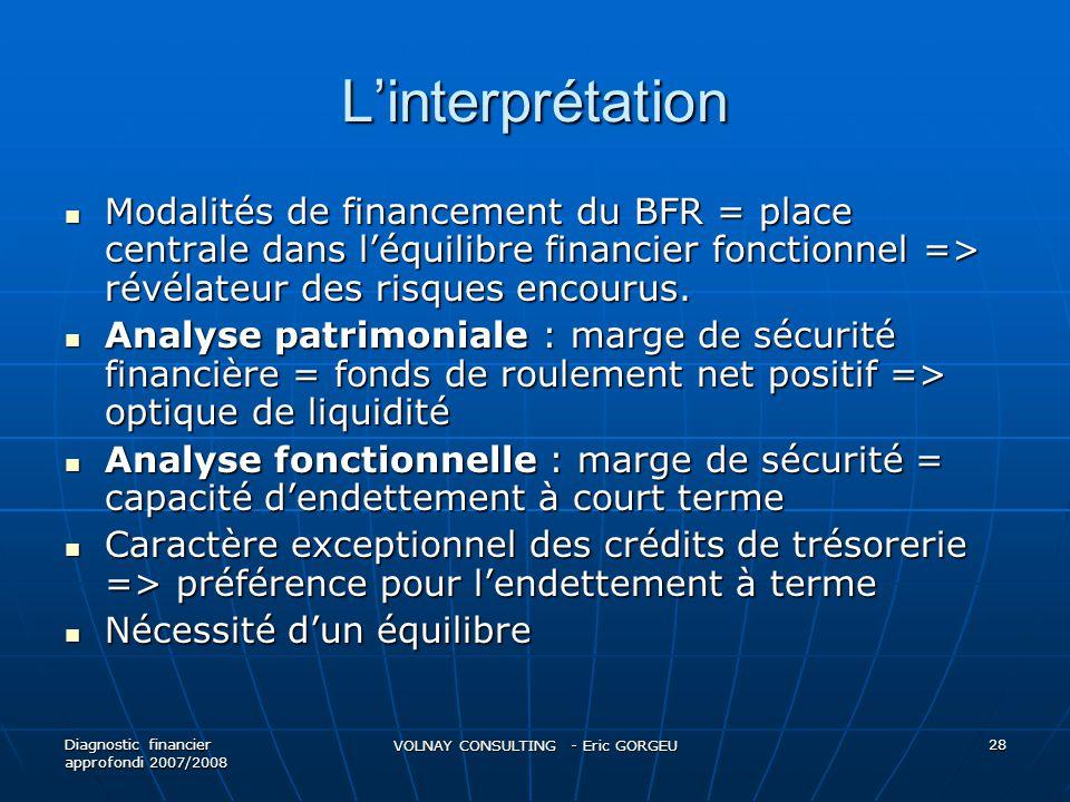 Linterprétation Modalités de financement du BFR = place centrale dans léquilibre financier fonctionnel => révélateur des risques encourus. Modalités d