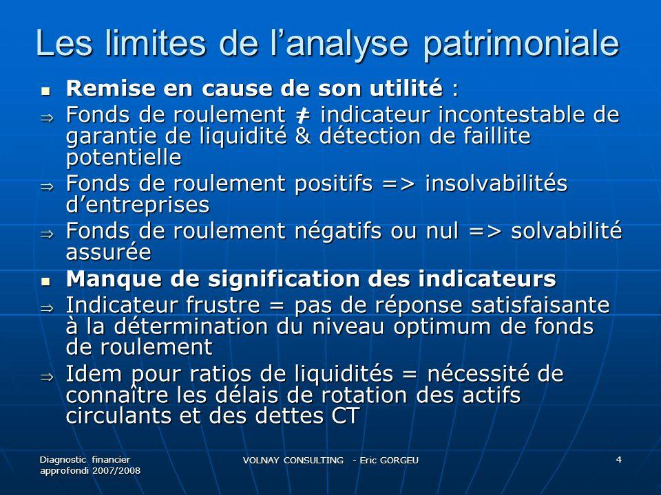 Les limites de lanalyse patrimoniale Remise en cause de son utilité : Remise en cause de son utilité : Fonds de roulement = indicateur incontestable d