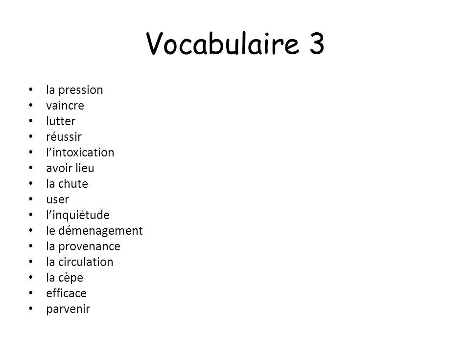 Vocabulaire 3 la pression vaincre lutter réussir lintoxication avoir lieu la chute user linquiétude le démenagement la provenance la circulation la cè