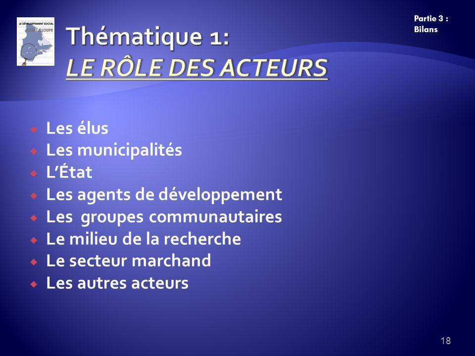 Les élus Les municipalités LÉtat Les agents de développement Les groupes communautaires Le milieu de la recherche Le secteur marchand Les autres acteurs 18 Partie 3 : Bilans