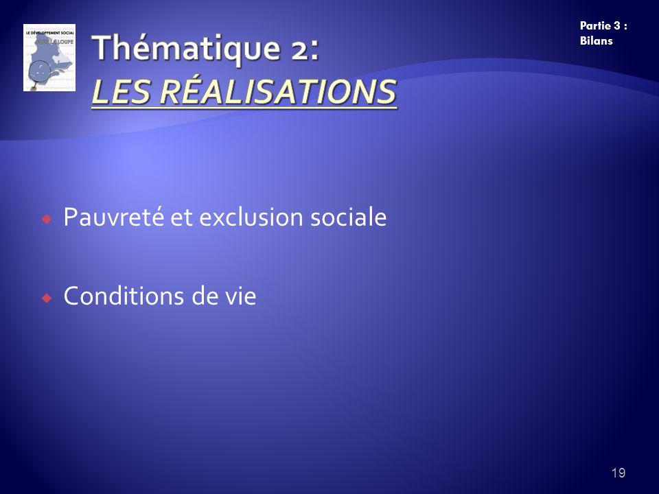 Pauvreté et exclusion sociale Conditions de vie 19 Partie 3 : Bilans
