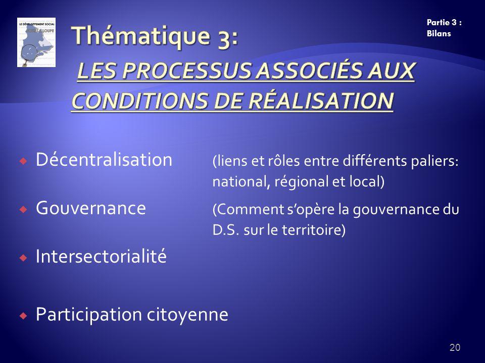 Décentralisation (liens et rôles entre différents paliers: national, régional et local) Gouvernance (Comment sopère la gouvernance du D.S.