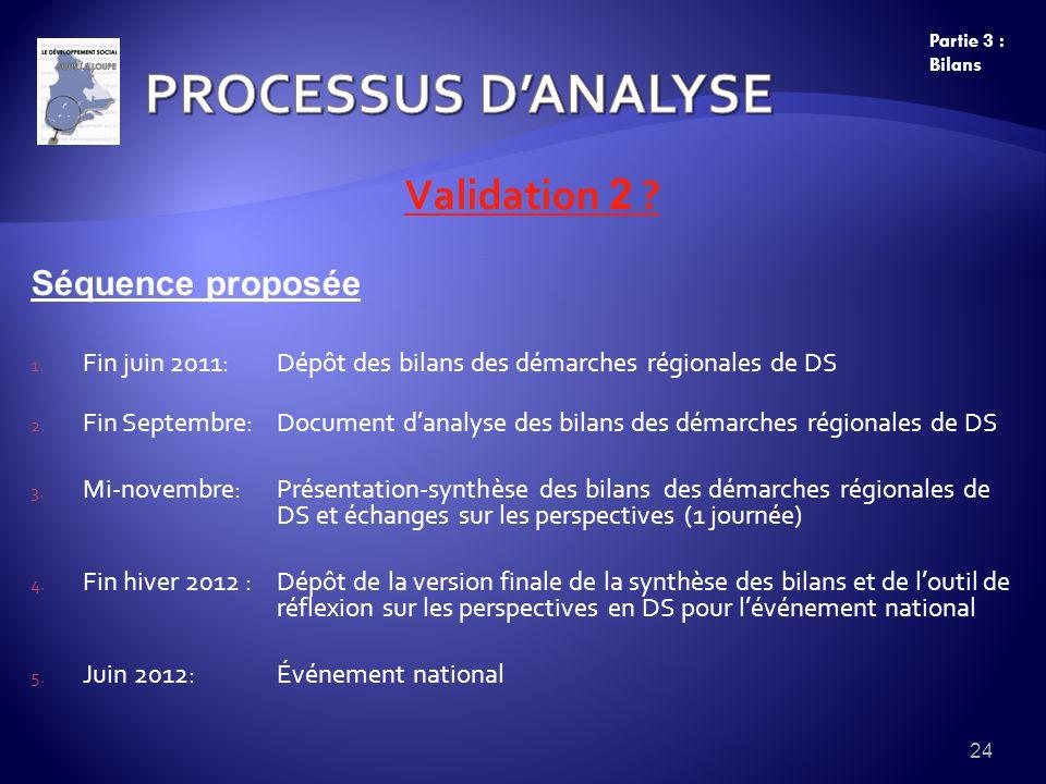Validation 2 ? Séquence proposée 1. Fin juin 2011:Dépôt des bilans des démarches régionales de DS 2. Fin Septembre: Document danalyse des bilans des d