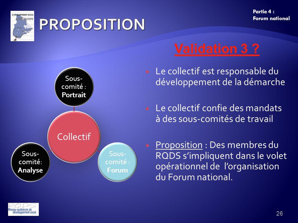 Le collectif est responsable du développement de la démarche Le collectif confie des mandats à des sous-comités de travail Proposition : Des membres du RQDS simpliquent dans le volet opérationnel de lorganisation du Forum national.