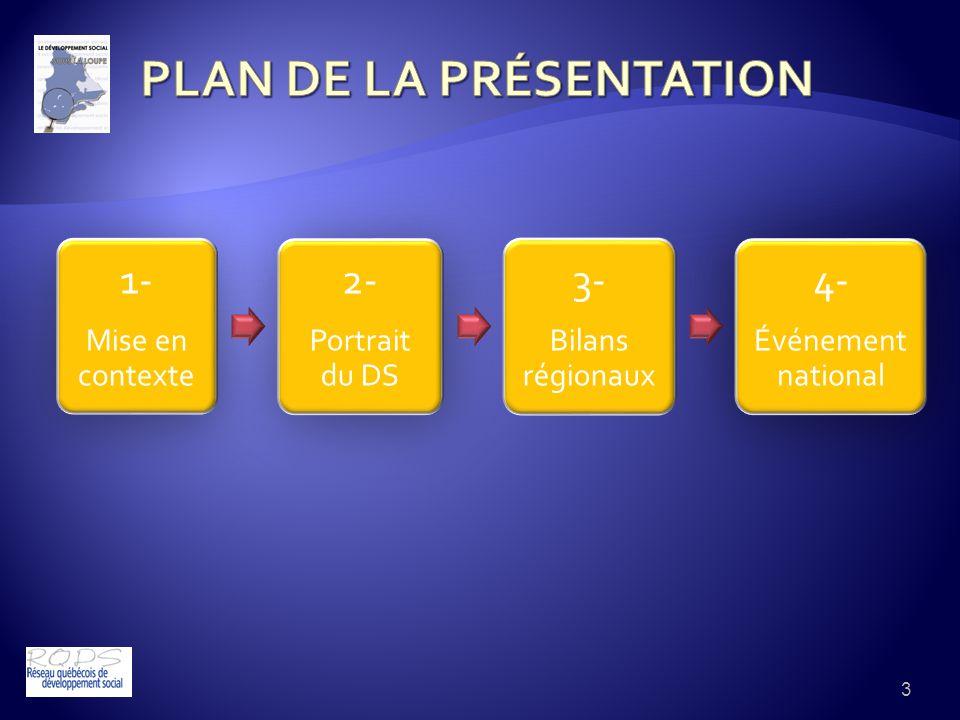 3 1- Mise en contexte 2- Portrait du DS 3- Bilans régionaux 4- Événement national
