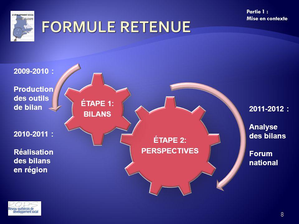 8 Partie 1 : Mise en contexte ÉTAPE 2: PERSPECTIVES ÉTAPE 1: BILANS 2009-2010 : Production des outils de bilan 2010-2011 : Réalisation des bilans en r