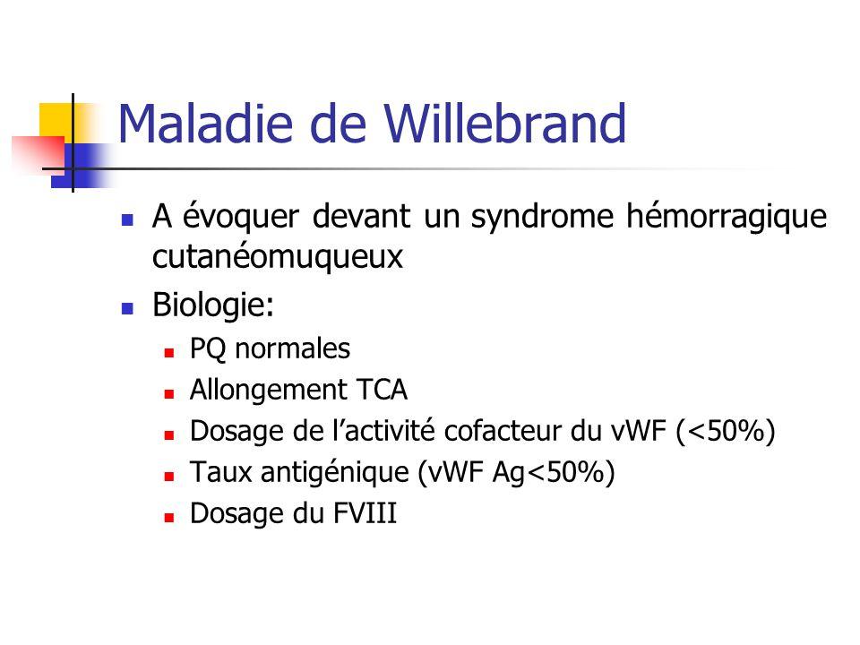 Maladie de Willebrand A évoquer devant un syndrome hémorragique cutanéomuqueux Biologie: PQ normales Allongement TCA Dosage de lactivité cofacteur du vWF (<50%) Taux antigénique (vWF Ag<50%) Dosage du FVIII