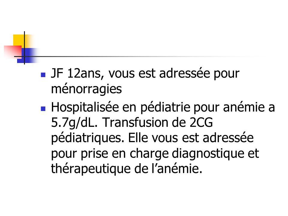 JF 12ans, vous est adressée pour ménorragies Hospitalisée en pédiatrie pour anémie a 5.7g/dL.