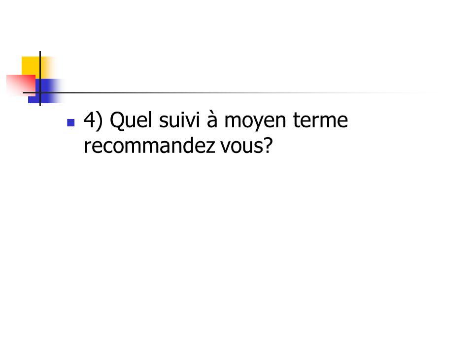 4) Quel suivi à moyen terme recommandez vous?