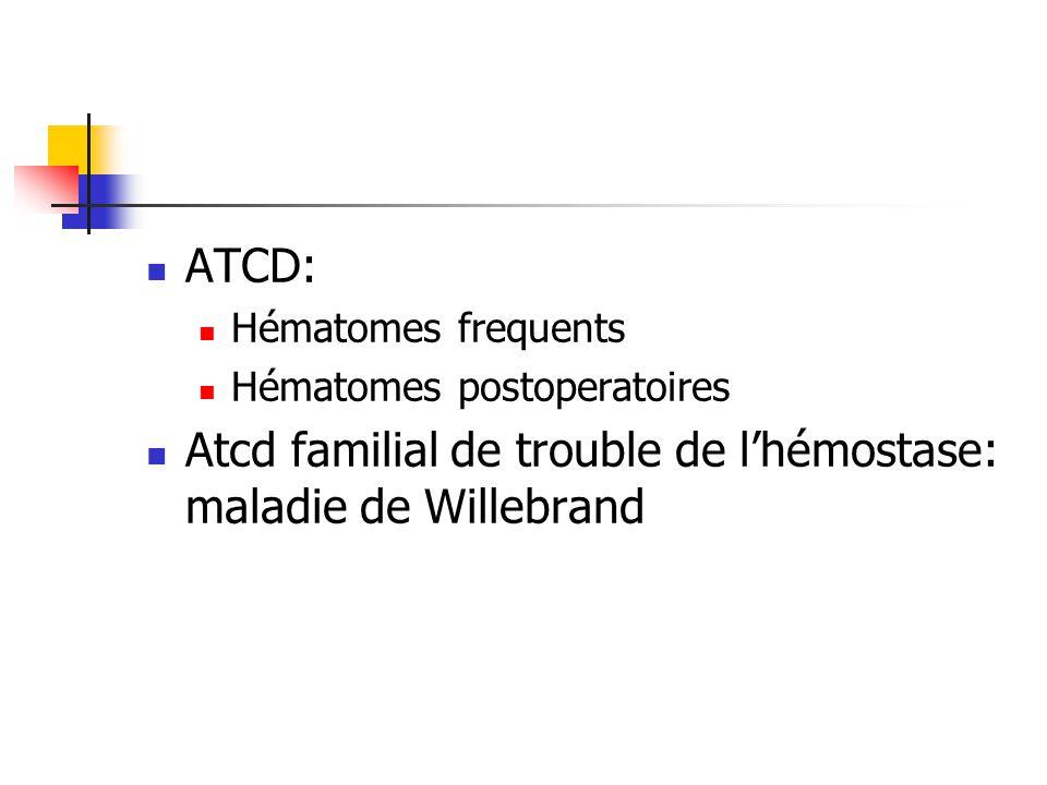ATCD: Hématomes frequents Hématomes postoperatoires Atcd familial de trouble de lhémostase: maladie de Willebrand