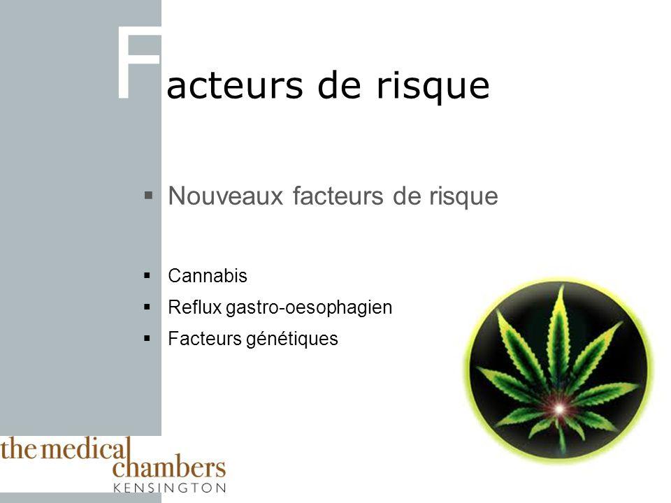 F acteurs de risque Nouveaux facteurs de risque Cannabis Reflux gastro-oesophagien Facteurs génétiques