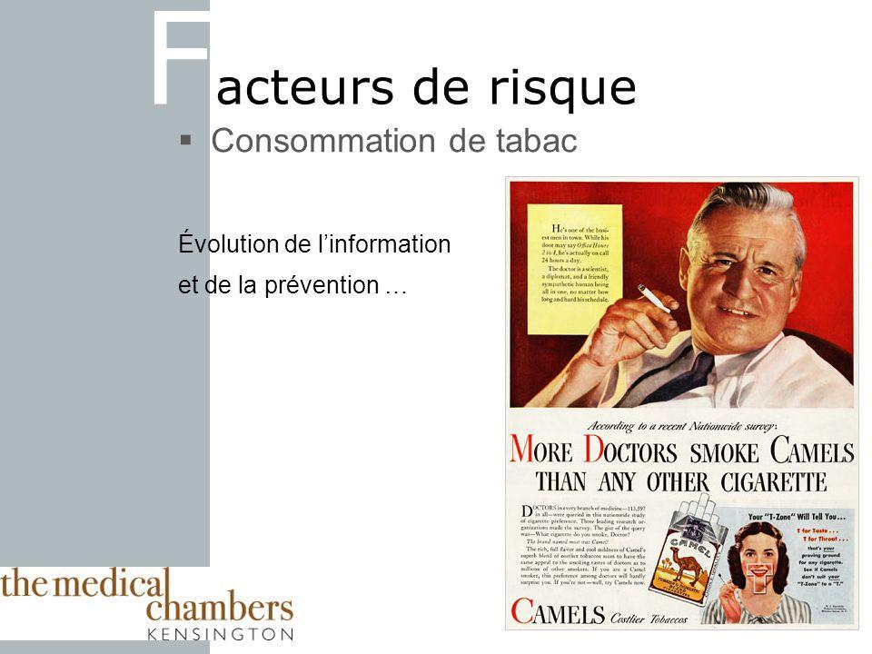 F acteurs de risque Consommation de tabac Évolution de linformation et de la prévention …