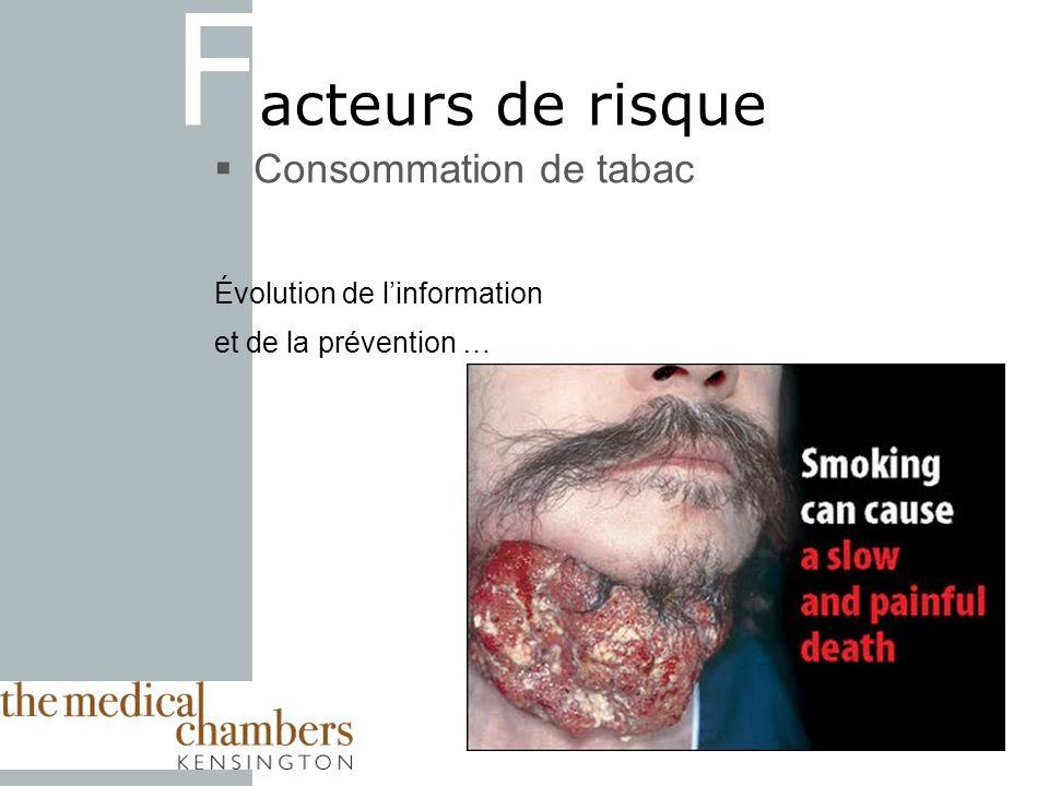 17 F acteurs de risque Consommation de tabac Évolution de linformation et de la prévention …