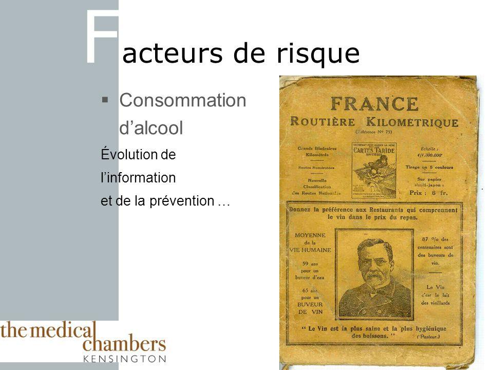 F acteurs de risque Consommation dalcool Évolution de linformation et de la prévention …