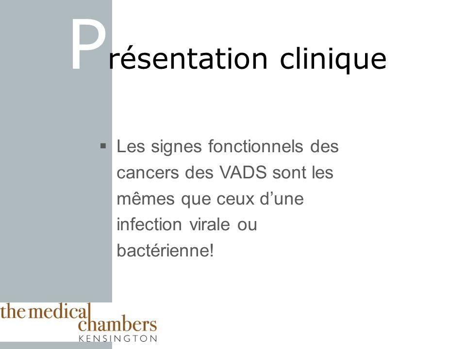 Les signes fonctionnels des cancers des VADS sont les mêmes que ceux dune infection virale ou bactérienne! P résentation clinique