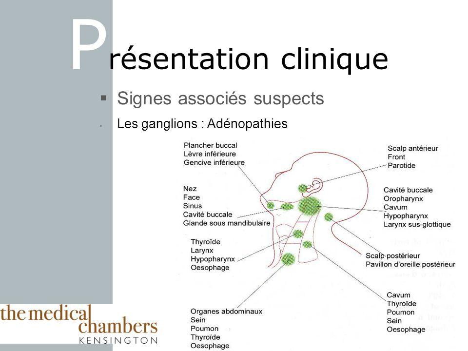 Signes associés suspects Les ganglions : Adénopathies P résentation clinique