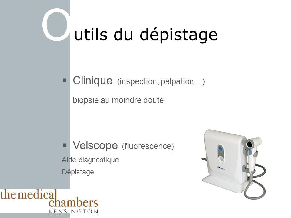 O utils du dépistage Clinique (inspection, palpation…) biopsie au moindre doute Velscope (fluorescence) Aide diagnostique Dépistage