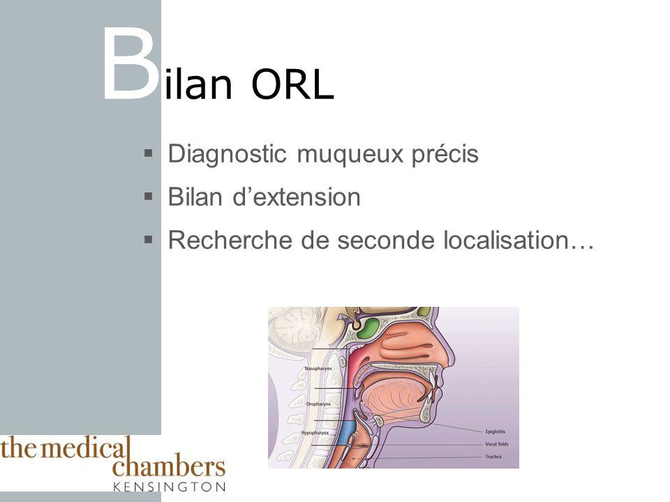 Diagnostic muqueux précis Bilan dextension Recherche de seconde localisation… B ilan ORL