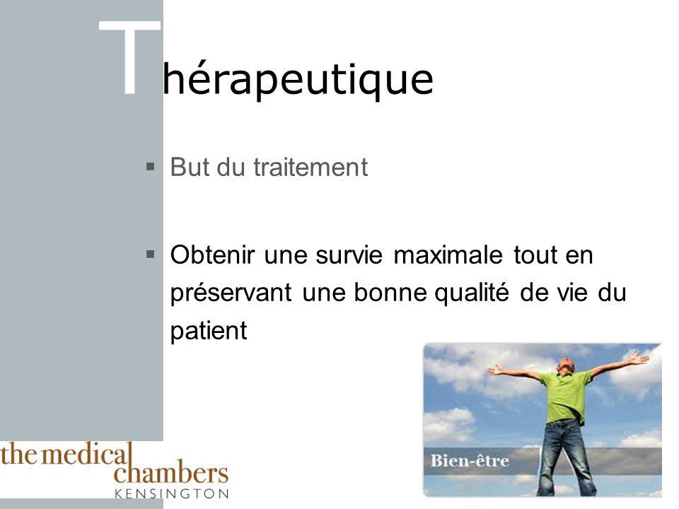 But du traitement Obtenir une survie maximale tout en préservant une bonne qualité de vie du patient T hérapeutique