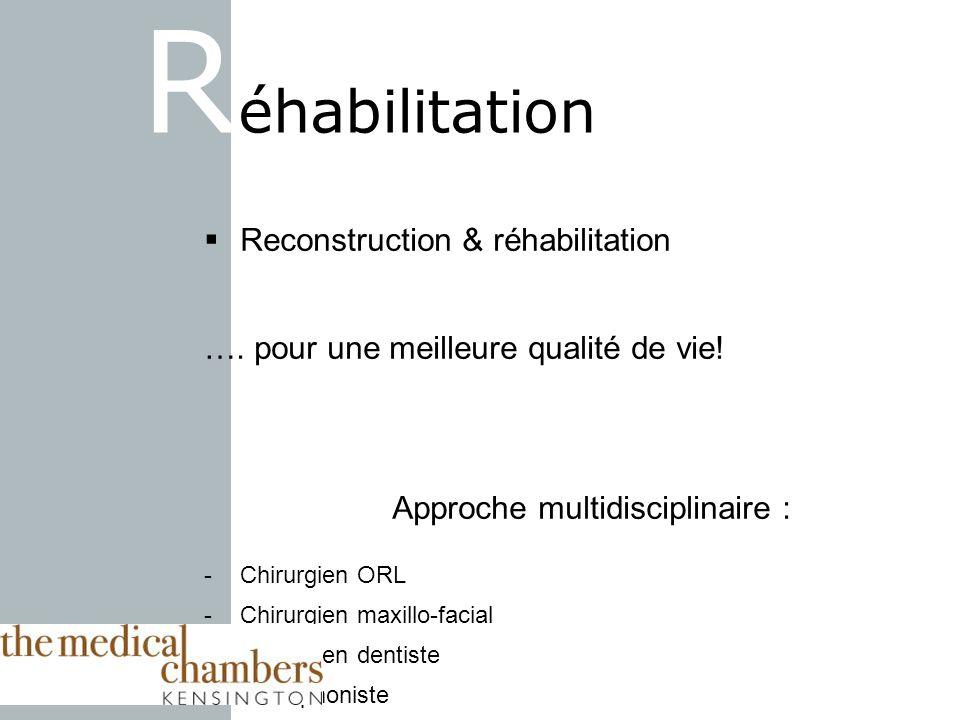 Reconstruction & réhabilitation …. pour une meilleure qualité de vie! Approche multidisciplinaire : -Chirurgien ORL -Chirurgien maxillo-facial -Chirur
