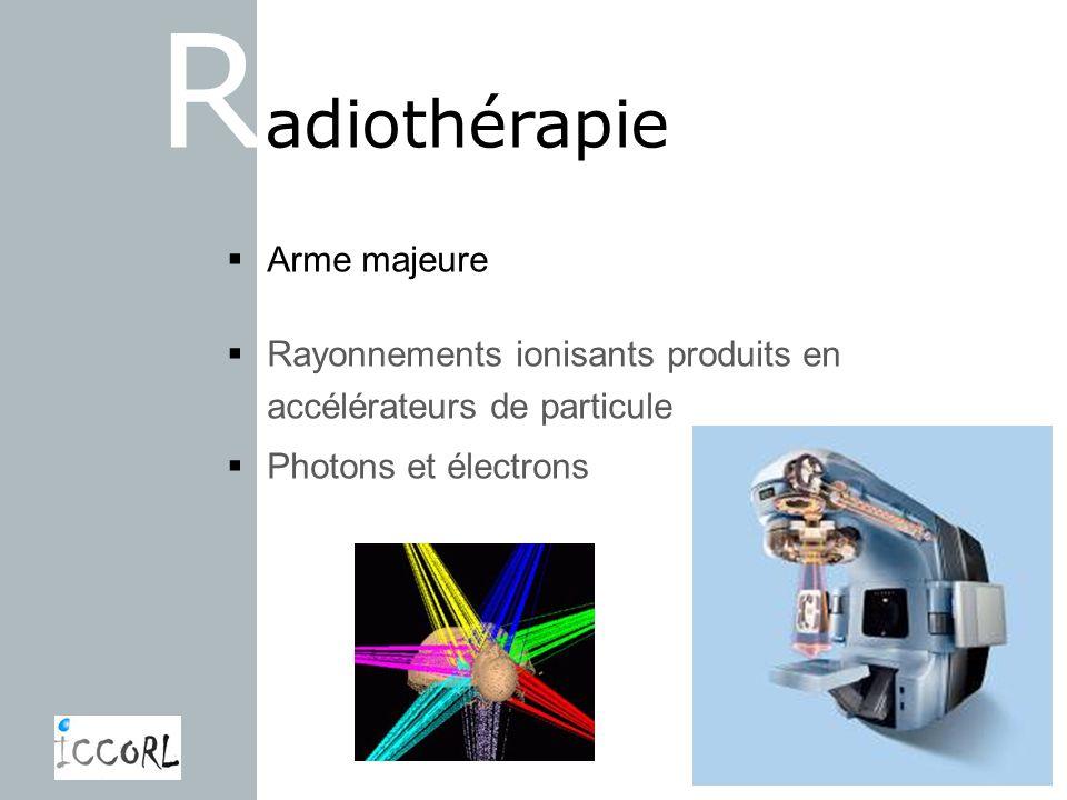 R adiothérapie Arme majeure Rayonnements ionisants produits en accélérateurs de particule Photons et électrons