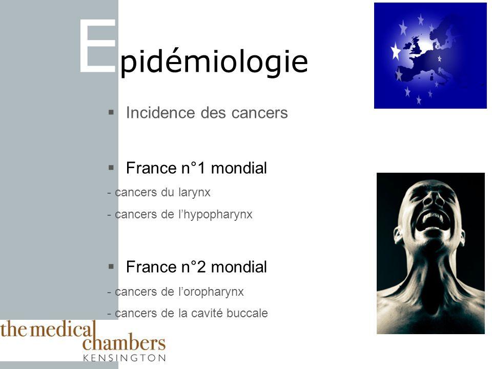 E pidémiologie Incidence des cancers France n°1 mondial - cancers du larynx - cancers de lhypopharynx France n°2 mondial - cancers de loropharynx - cancers de la cavité buccale