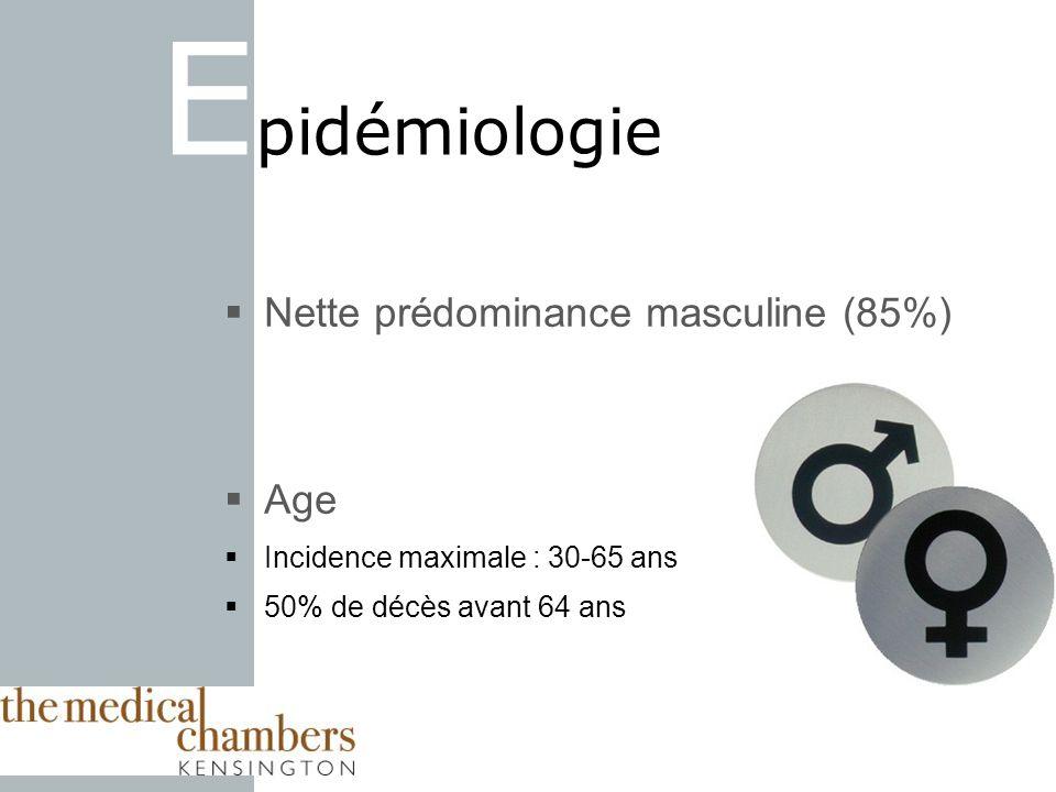 E pidémiologie Nette prédominance masculine (85%) Age Incidence maximale : 30-65 ans 50% de décès avant 64 ans