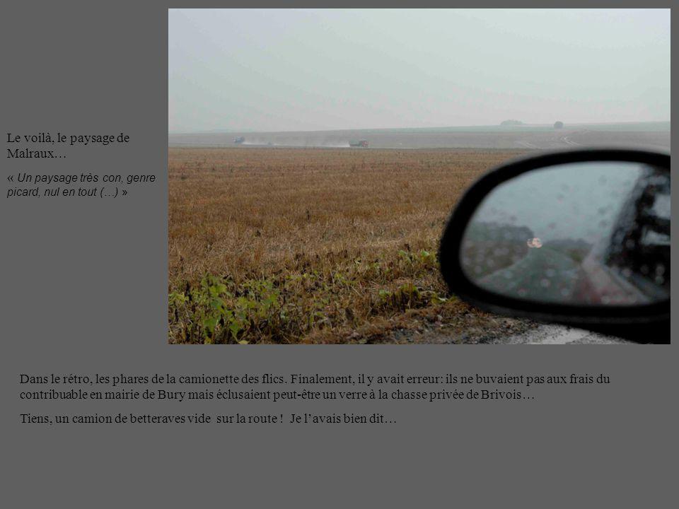 Le voilà, le paysage de Malraux… « Un paysage très con, genre picard, nul en tout (…) » Dans le rétro, les phares de la camionette des flics.
