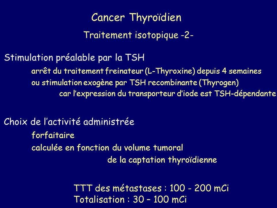 Cancer Thyroïdien Traitement isotopique -2- Stimulation préalable par la TSH arrêt du traitement freinateur (L-Thyroxine) depuis 4 semaines ou stimula