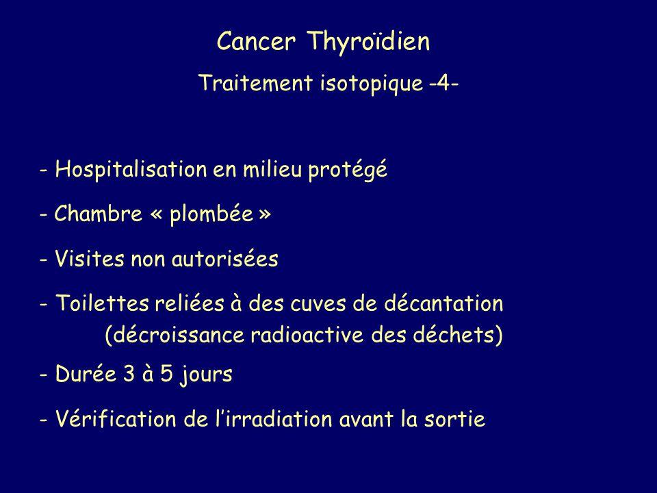 Cancer Thyroïdien Traitement isotopique -4- - Hospitalisation en milieu protégé - Chambre « plombée » - Visites non autorisées - Toilettes reliées à d